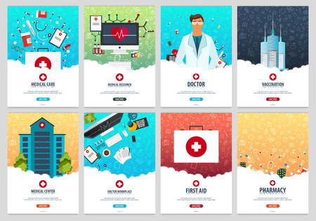 Set of Medical posters. Health care. Vector medicine illustration
