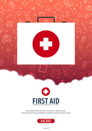 First Aid. Medical poster. Health care. Vector medicine illustration Illustration