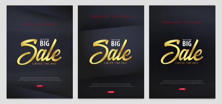 Set of Sale posters or Flyers design. Discount background for the online store, shop, promotional leaflet, poster, banner. Vector illustration. Illustration