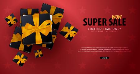 販売ポスターや贈り物のチラシ デザイン。オンライン ストア、ショップ、販促リーフレット、ポスター、バナーの背景を割引します。ベクトル図