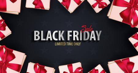 Black Friday Sale poster or Flyer. Discount background for the online store, shop, promotional leaflet, poster, banner. Vector illustration Illustration
