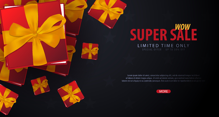 Sale poster or Flyer design with gifts. Discount background for the online store, shop, promotional leaflet, poster, banner. Vector illustration Illustration