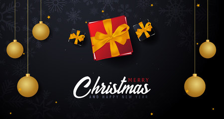 Marry Christmas and Happy New Year banner on dark background. Vector illustration