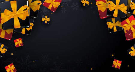 Merry Christmas and Happy New Year banner on dark background. Vector illustration