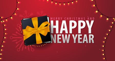 Huw Kerstmis en Gelukkige Nieuwjaarbanner op rode achtergrond. Vector illustratie Stock Illustratie