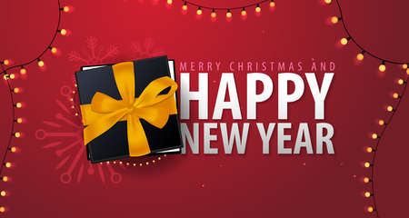 Marry Christmas and Happy New Year banner on red background. Vector illustration