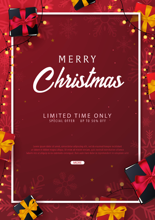 Marry Christmas and Happy New Year poster on red background. Vector illustration