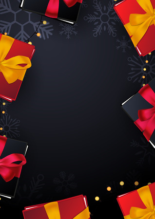 Marry Christmas and Happy New Year poster on red background with gift boxes. Vector illustration Illustration