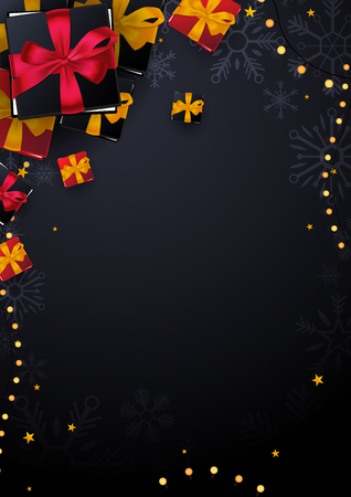 Marry Christmas and Happy New Year poster on red background with gift boxes. Vector illustration Ilustração