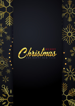 Marry Christmas and Happy New Year poster and banner on dark background. Vector illustration