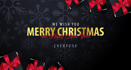 Marry Christmas and Happy New Year banner on dark background with snowflakes. Vector illustration. Stock Illustratie