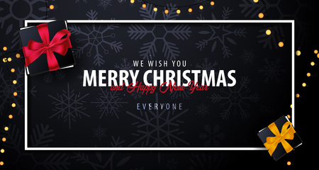 Marry Christmas and Happy New Year banner on dark background with snowflakes. Vector illustration. Фото со стока - 90905625