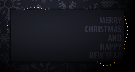 Marry Christmas and Happy New Year banner on dark background with snowflakes. Vector illustration. 向量圖像