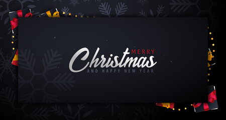 Marry Christmas and Happy New Year banner on dark background with snowflakes. Vector illustration. 矢量图像