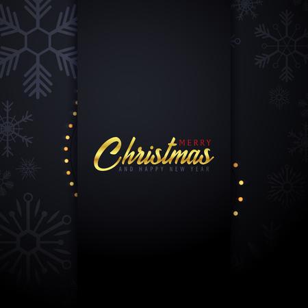 Huw Kerstmis en Gelukkige Nieuwjaarbanner op donkere achtergrond met sneeuwvlokken en giftdozen. Vector illustratie.
