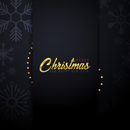 Marry Christmas and Happy New Year banner on dark background with snowflakes and gift boxes. Vector illustration.