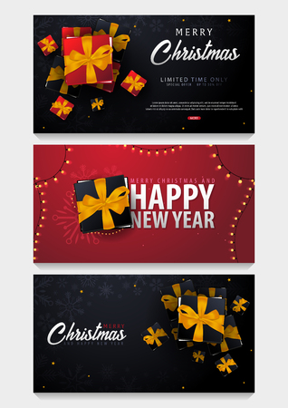 Set of Marry Christmas and Happy New Year banner on dark and red background with snowflakes and gift boxes. Vector illustration