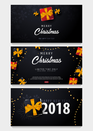 Set of Marry Christmas and Happy New Year banner on dark background with snowflakes and gift boxes. Vector illustration