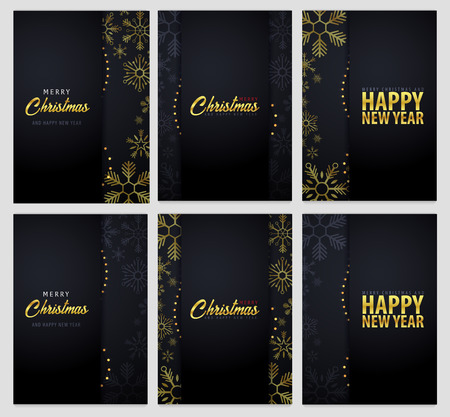 Set of Marry Christmas and Happy New Year banner on dark background with snowflakes. Vector illustration