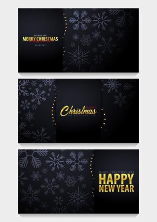 Set van Marry Christmas en Happy New Year banner op donkere achtergrond met sneeuwvlokken. Vector illustratie