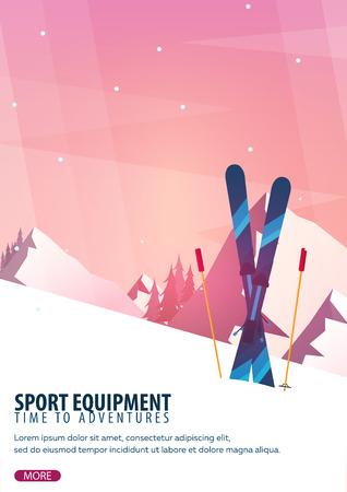 Winter sport. Ski and snowboard. Mountain landscape. Snowboarder in motion. Vector illustration Imagens - 92220407