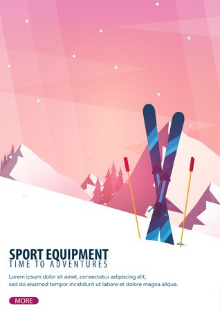 Winter sport. Ski and snowboard. Mountain landscape. Snowboarder in motion. Vector illustration