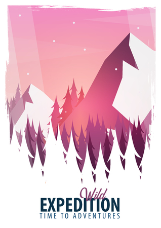 Vector illustration of climbing, trekking, hiking, mountaineering. Extreme sports, outdoor recreation, adventure in the mountains vacation 矢量图像