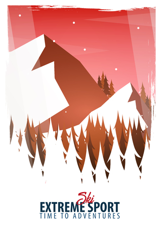 Vector illustration of Climbing, Trekking, Hiking, Mountaineering. Extreme sports, outdoor recreation, adventure in the mountains vacation