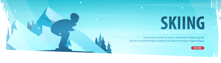 Winter sport. Ski horizontal banner  illustration. Stock Illustratie