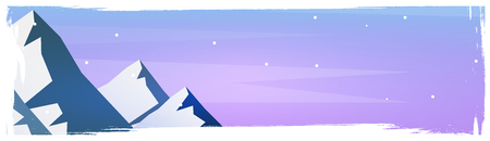 Mountains landscape background with silhouettes of mountains and trees. Vector Illustration