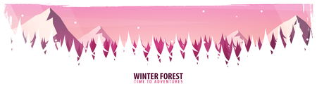 Nature landscape background with silhouettes of mountains and trees. Winter Forest. Vector Illustration 矢量图像
