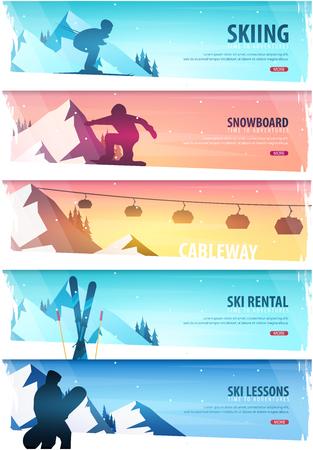 冬のスポーツ。索道。回数券。スキー水平バナーのセットです。ベクトル図