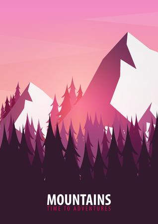 산 포스터. 산과 나무의 실루엣과 자연 풍경 배경. 벡터 일러스트 레이션