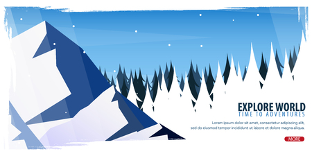 Nature landscape background with silhouettes of mountains and trees. Winter Forest. Vector Illustration Illustration