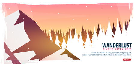 Landscape with silhouettes of mountains and trees. Illustration