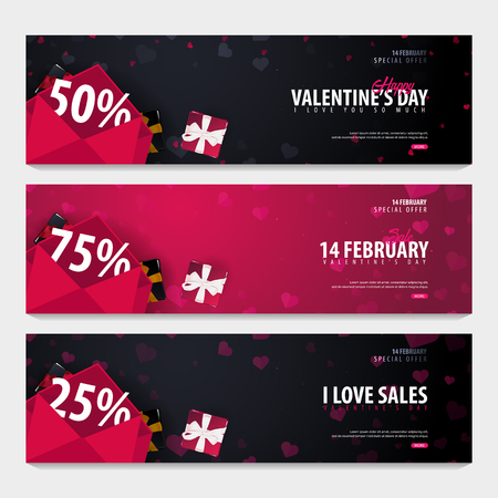 Set of Valentines day sale backgrounds. Wallpaper, flyers, invitation, posters, brochure, voucher banners Vector illustration