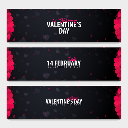 Set of Valentines day sale backgrounds. Wallpaper, flyers, invitation, posters, brochure, voucher banners Vector illustration Illustration