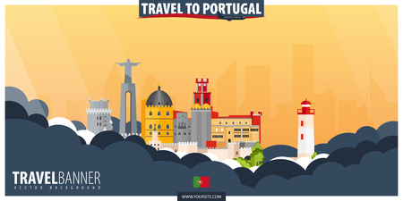 Travel to Portugal. Travel and Tourism poster. Vector flat illustration 일러스트
