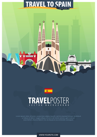 Travel to Spain. Travel and Tourism poster. Vector flat illustration
