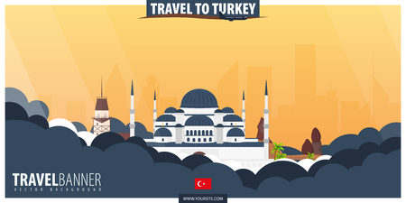 Travel to Turkey. Travel and Tourism poster. Vector flat illustration Stock Illustratie
