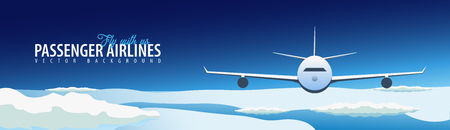 Passenger Airlines. Clouds sky background with airplane. Vector illustration Illustration