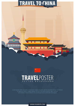 Travel to China. Travel and Tourism poster. Vector flat illustration Stock Illustratie