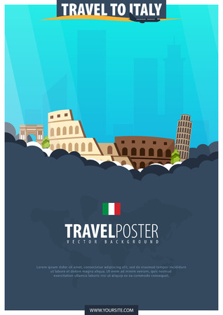 Travel to Italy. Travel and Tourism poster. Vector flat illustration
