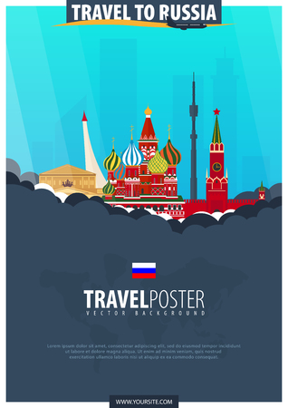 Travel to Russia. Travel and Tourism poster. Vector flat illustration