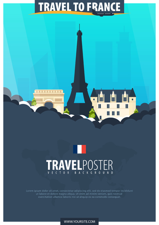 Travel to France. Travel and Tourism poster. Vector flat illustration Stock Photo