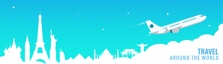 Travel banner with landmarks and airplane. Around the world. Tourism background. Vector illustration