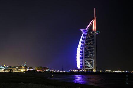 DUBAI, UNITED ARAB EMIRATES, UAE - JANUARY 19, 2018. Dubai. Burj Al Arab at the night, Luxury 7 Stars Hotel Beautiful Building