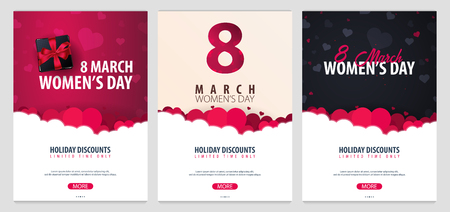 8 March International Womens Day. Set of greeting cards with heards. Vector illustration Banque d'images