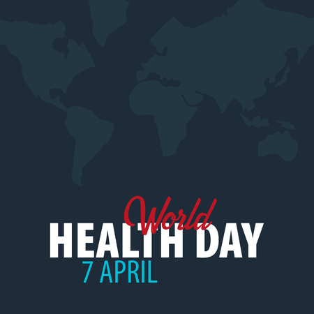 World Health day  7 april  Medical banner with world map silhouette on dark background. Vector illustration