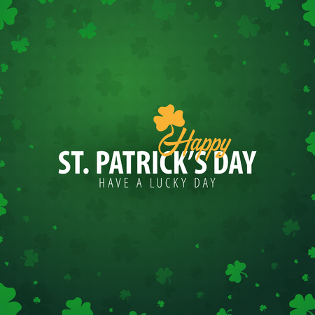 Saint Patrick's Day card with clover. Vector illustration